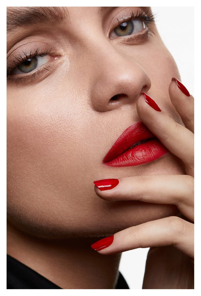 girl with red make up red lips red nails