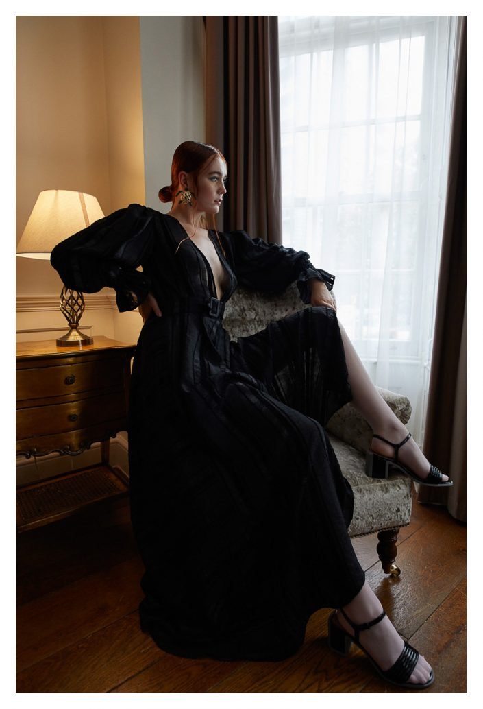 Ekin Can Bayrakdar Model Sitting Black Dress Haute Couture Ekin Can Bayrakdar - Fashion Photographer https://ekincanbayrakdar.com/