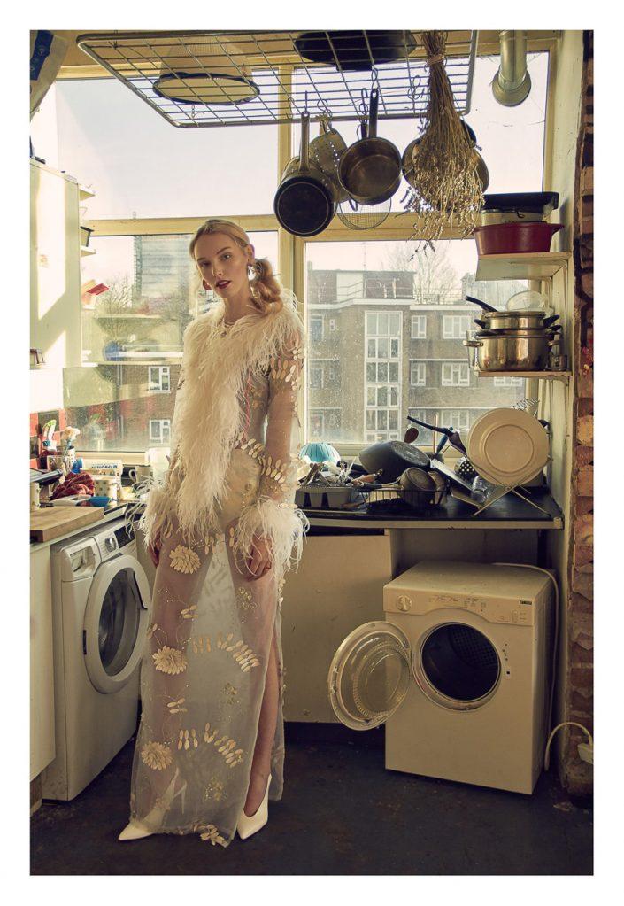 Ekin Can Bayrakdar Model Standing White Dress Kitchen highend fashion photograph Ekin Can Bayrakdar - Fashion Photographer https://ekincanbayrakdar.com/